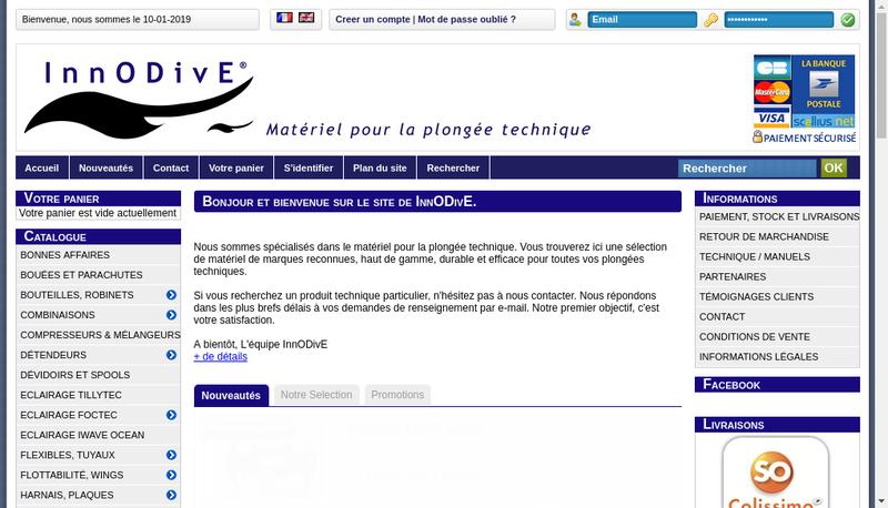Capture d'écran du site de Innodive