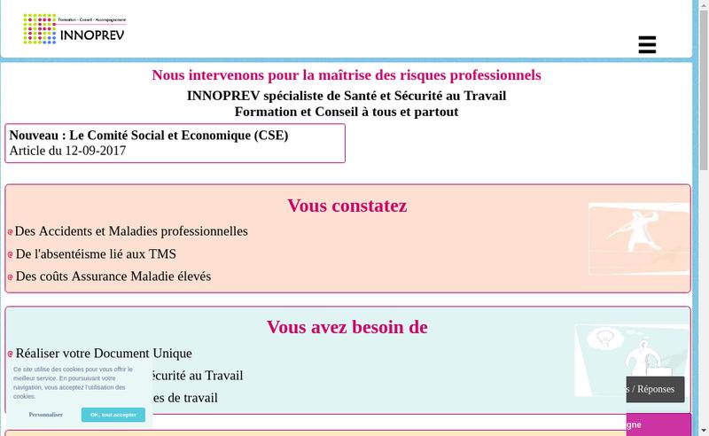 Capture d'écran du site de Innoprev