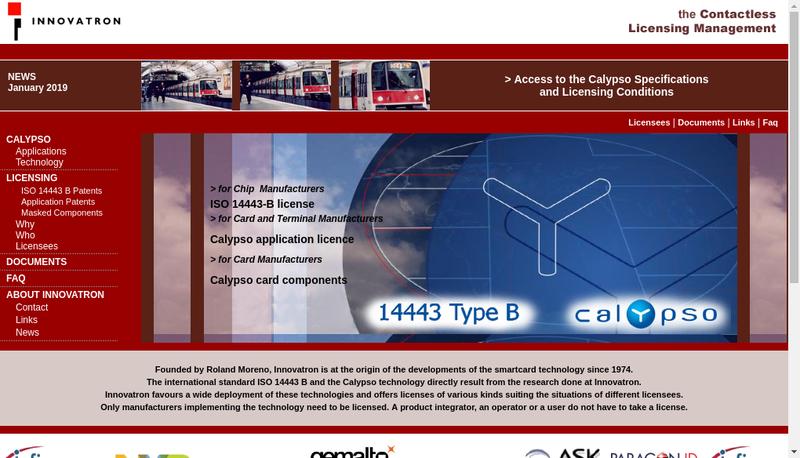 Capture d'écran du site de Innovatron