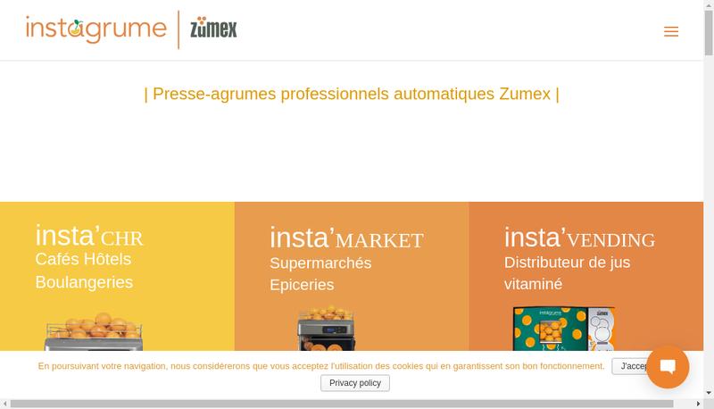 Capture d'écran du site de Instagrume