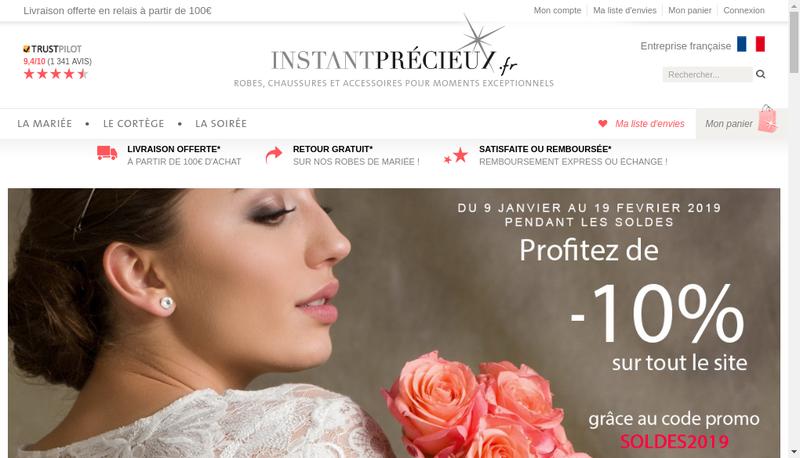 Capture d'écran du site de Instant Precieux