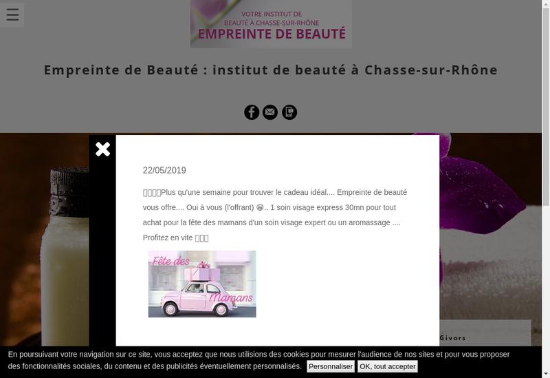 Capture d'écran du site de Empreinte de Beaute