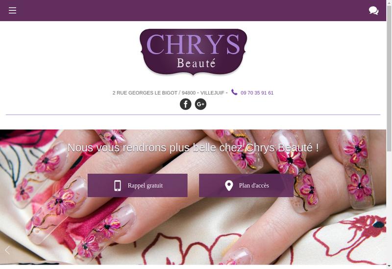Capture d'écran du site de Chrys Beaute