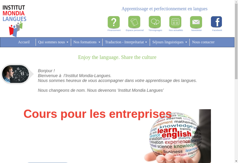 Capture d'écran du site de Institut Mondia Langues