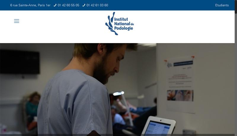 Capture d'écran du site de Institut National de Podologie