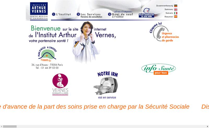 Capture d'écran du site de Institut Arthur Vernes
