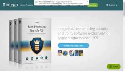 Capture d'écran du site de Intego