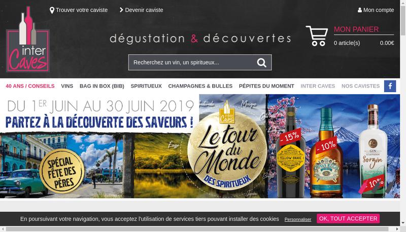 Capture d'écran du site de Inter Caves