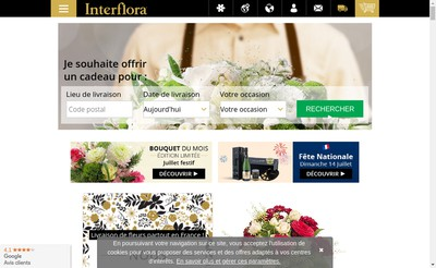 Site internet de Interflora France Fleurop