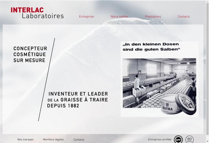 Capture d'écran du site de Interlac France