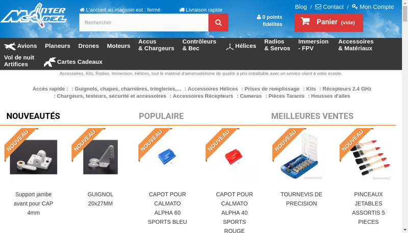 Capture d'écran du site de Intermodel