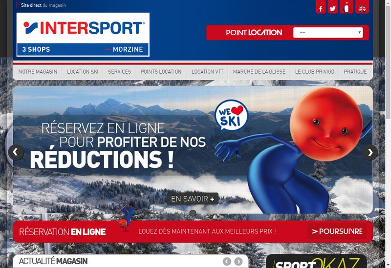 Capture d'écran du site de Intersport la Hutte