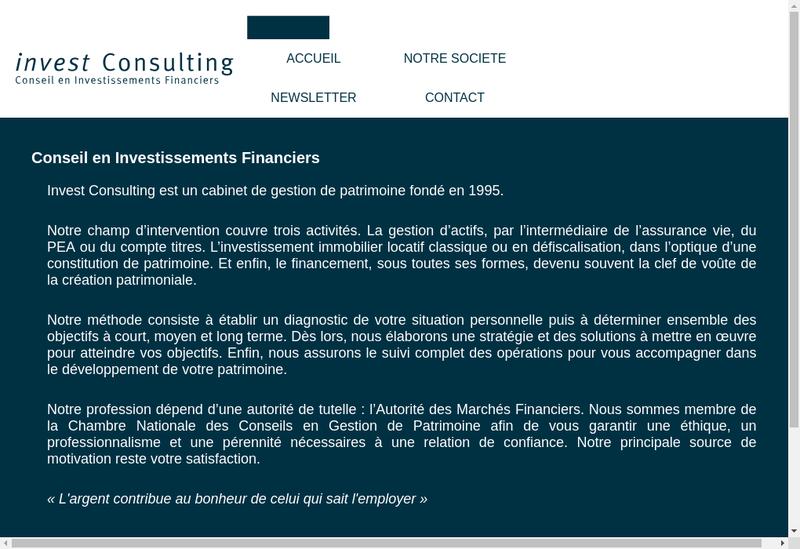 Capture d'écran du site de Invest Consulting
