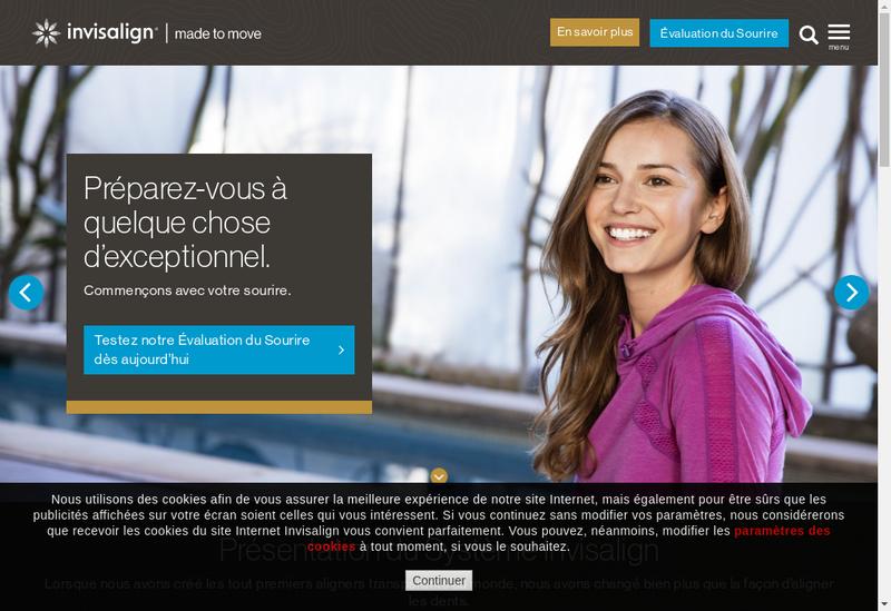 Capture d'écran du site de Align Invisalign