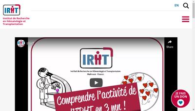 Capture d'écran du site de Inst Recherche en Hematologie Transpla