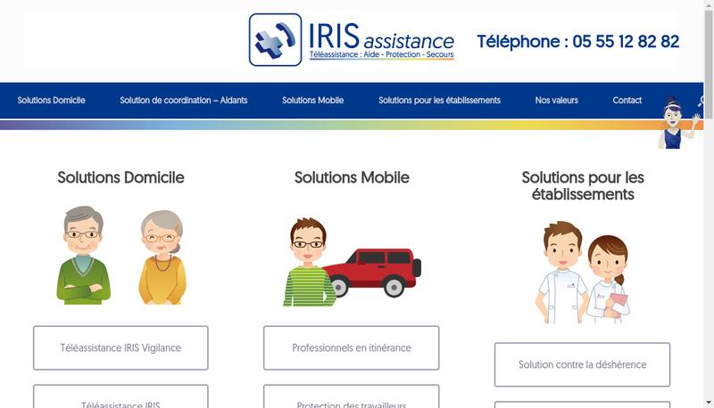 Capture d'écran du site de Iris Assistance +