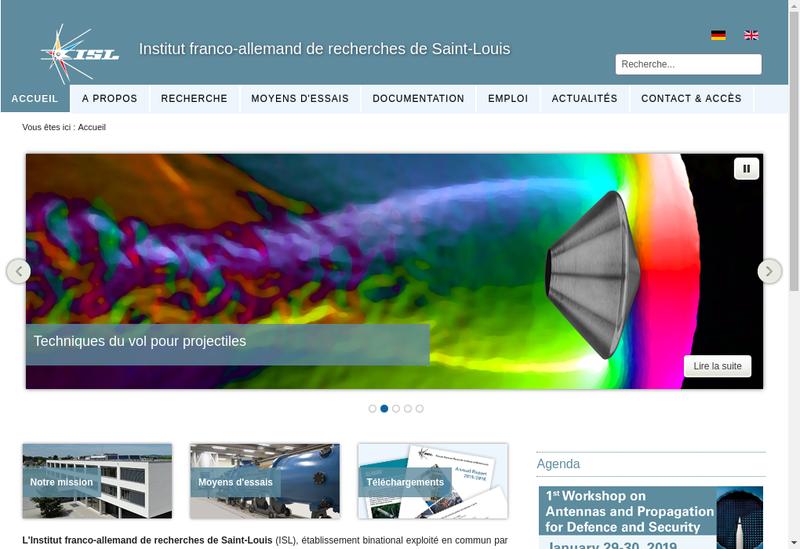 Capture d'écran du site de Inst Franco Allemand Recherches St Lou