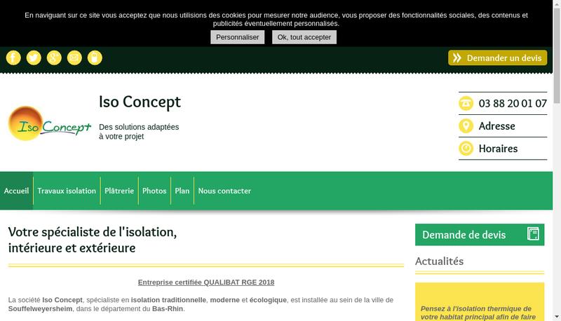 Capture d'écran du site de Iso Concept