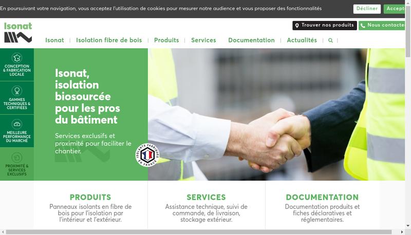 Capture d'écran du site de Isonat