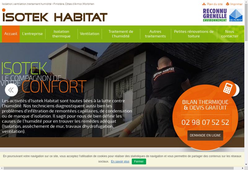 Capture d'écran du site de Isotek Habitat