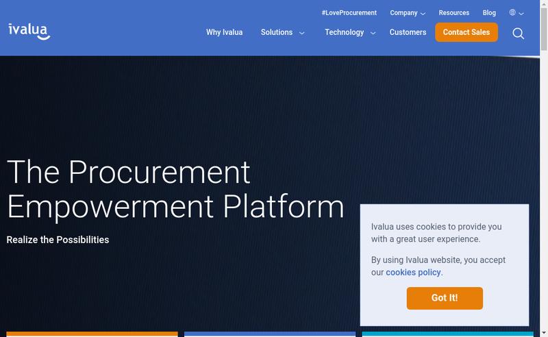 Capture d'écran du site de Ivalua