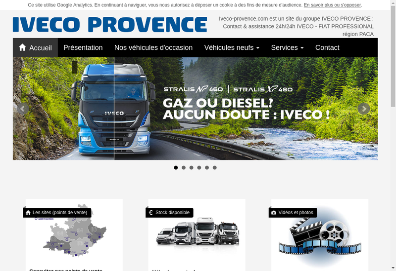 Capture d'écran du site de Iveco Provence