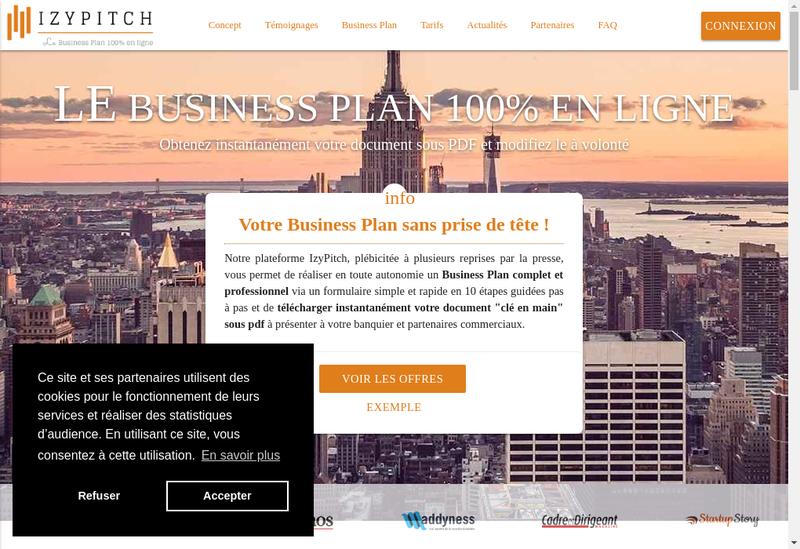 Capture d'écran du site de Izypitch