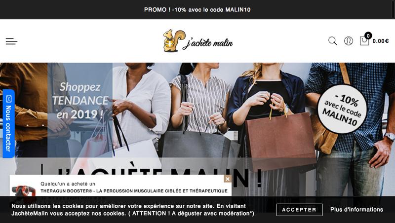 Capture d'écran du site de J'Achete Malin