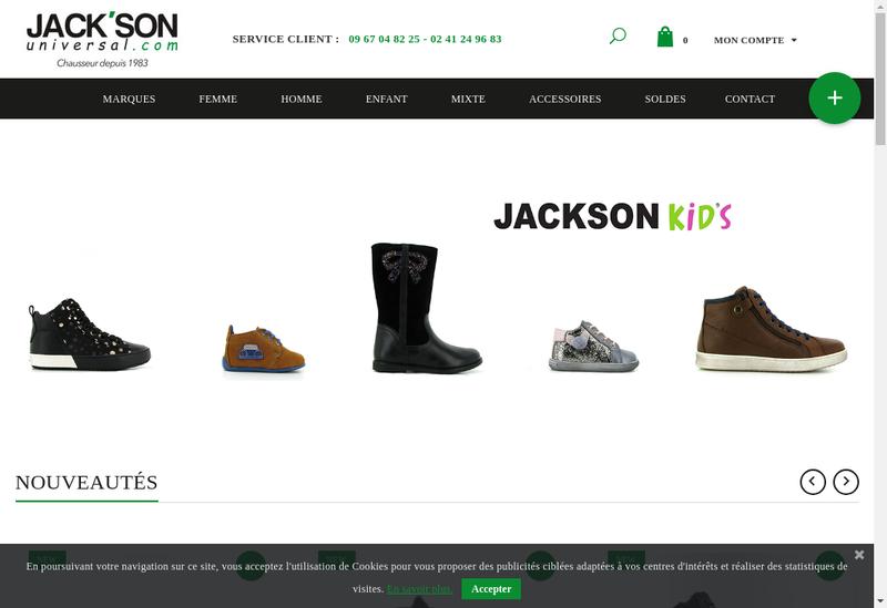 Capture d'écran du site de Universal Jack Son