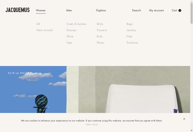 Capture d'écran du site de Jacquemus