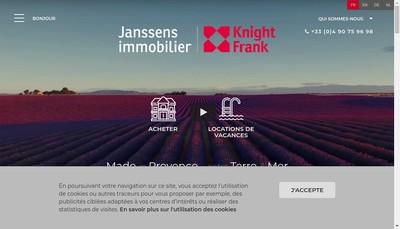 Site internet de Janssens Immobilier