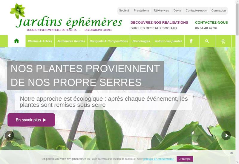 Capture d'écran du site de SARL Jardins Ephemeres
