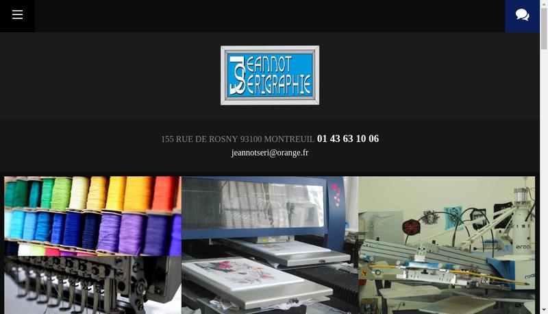Capture d'écran du site de Jeannot Serigraphie