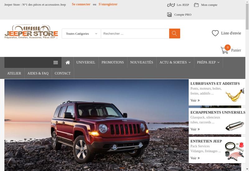 Capture d'écran du site de Jeeper Store