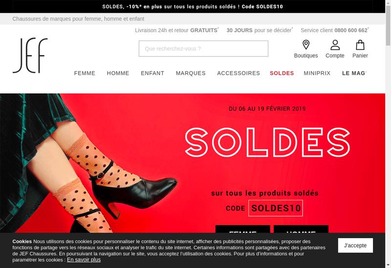 Capture d'écran du site de Chaussures Jef