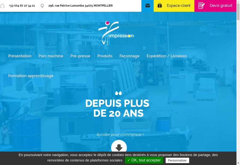 Capture d'écran du site de Jf Impression