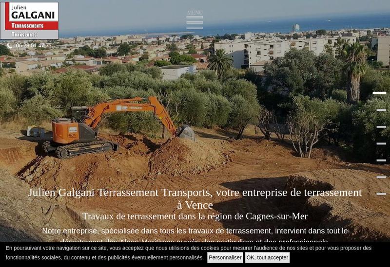 Capture d'écran du site de Julien Galgani Terrassements Transp