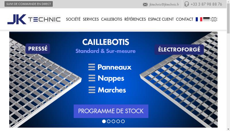 Capture d'écran du site de Jk Technic