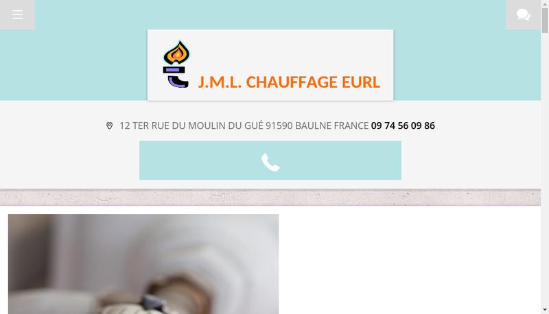 Capture d'écran du site de Jml Chauffage