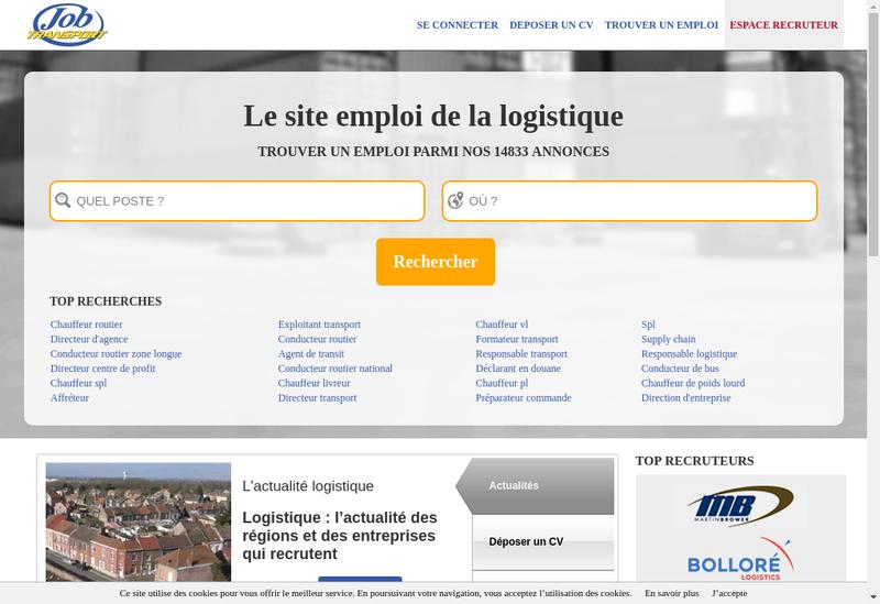 Capture d'écran du site de Jb Transports