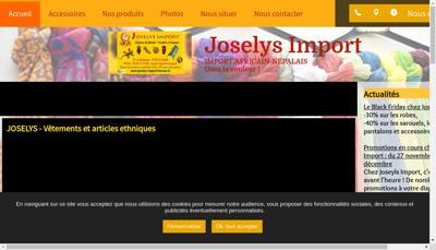 Capture d'écran du site de Joselys-Import