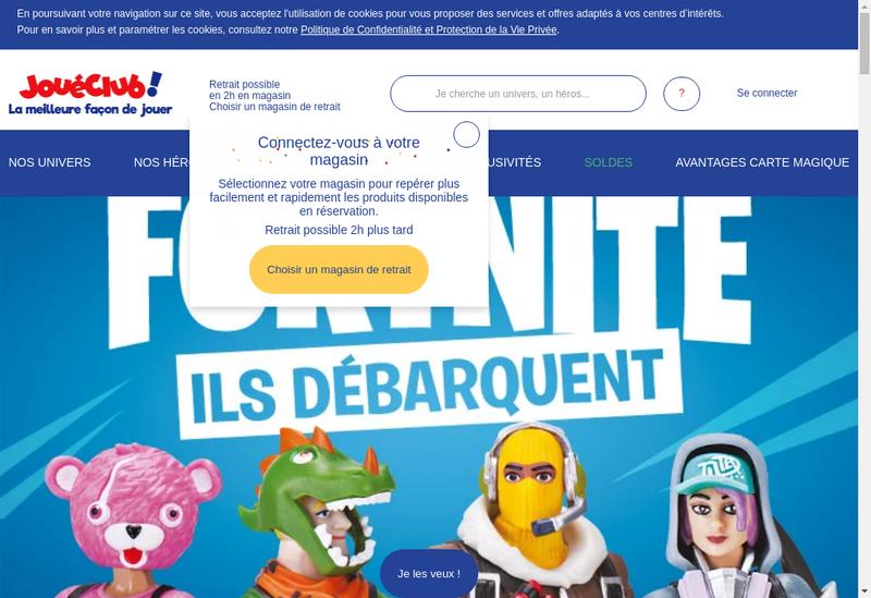 Capture d'écran du site de Joueclub Express