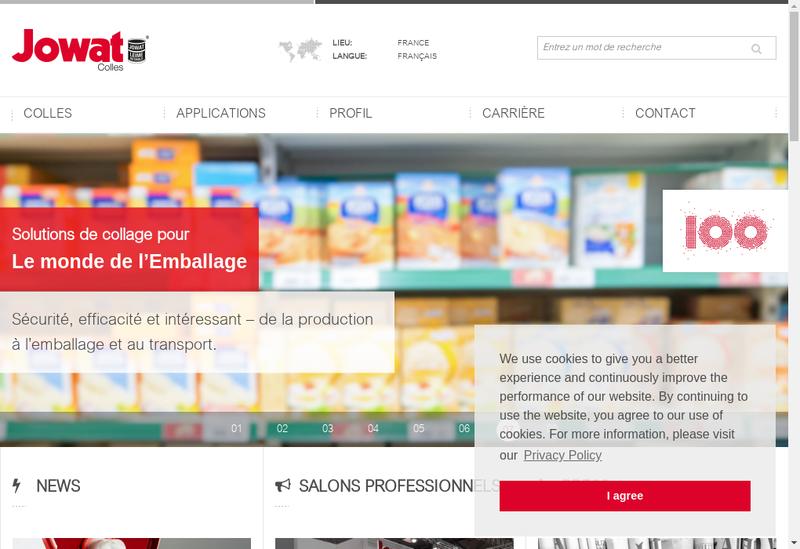 Capture d'écran du site de Jowat France