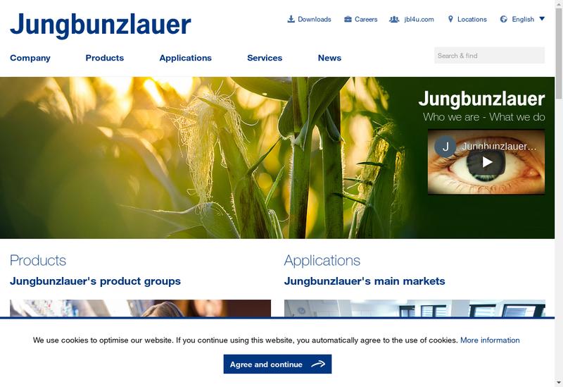 Capture d'écran du site de Jungbunzlauer