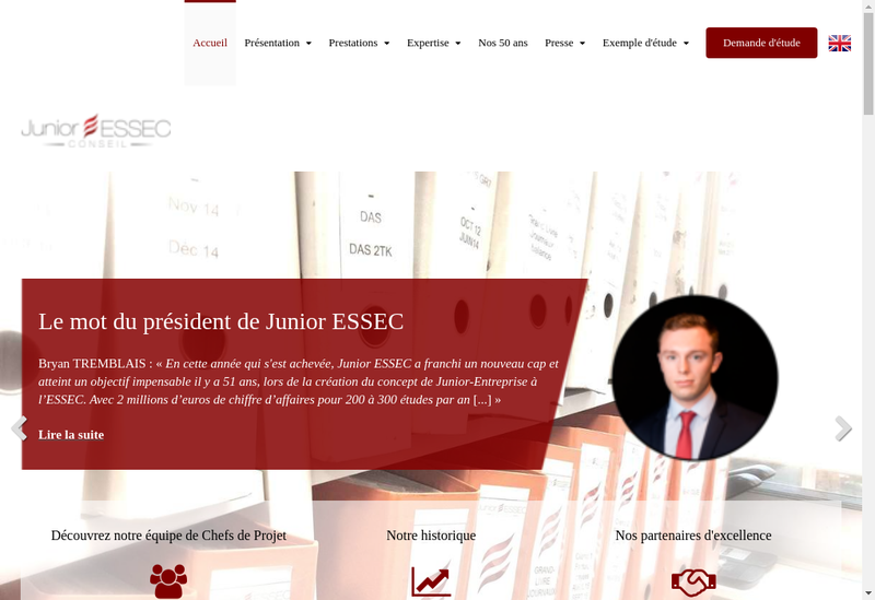 Capture d'écran du site de Junior Essec