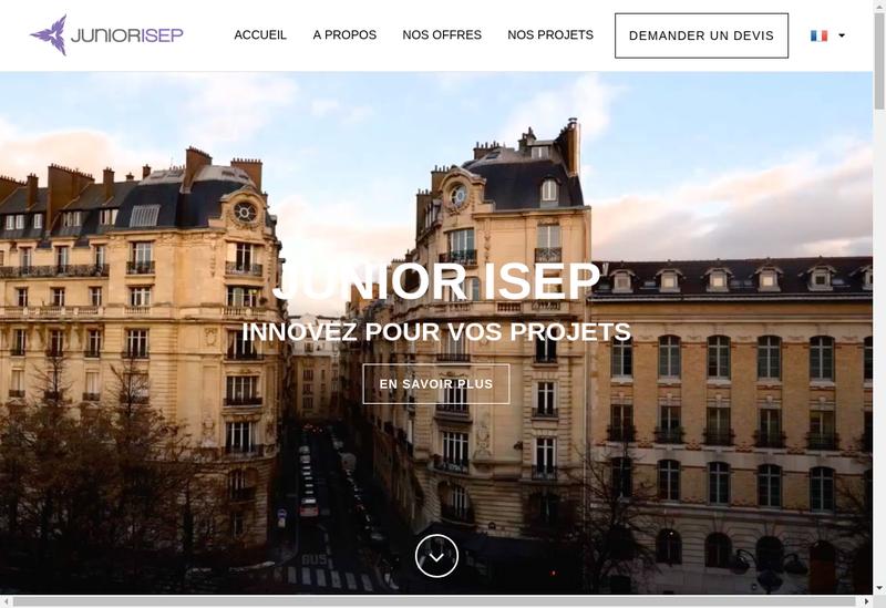 Capture d'écran du site de Junior ISEP