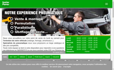 Site internet de Junior Pneus