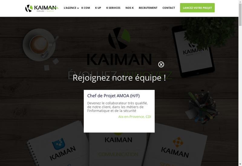 Capture d'écran du site de Kaiman