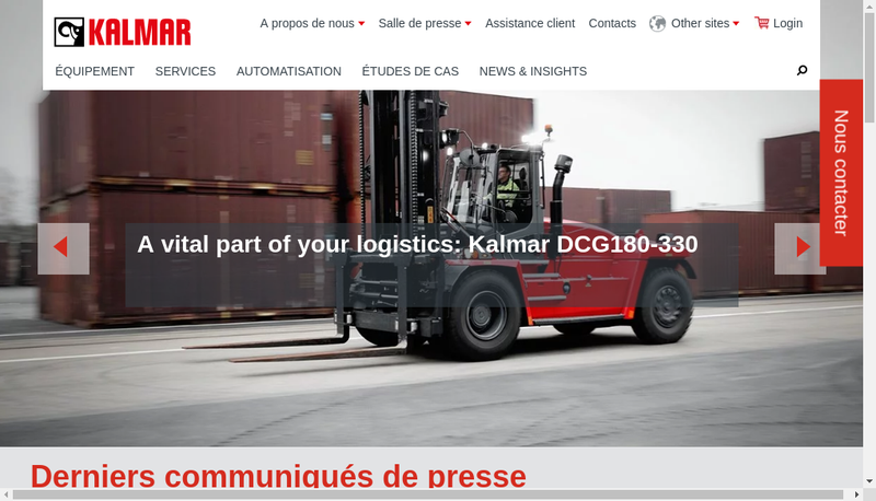 Capture d'écran du site de Kalmar France SAS