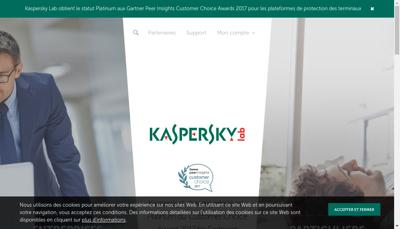 Capture d'écran du site de Kaspersky Lab France